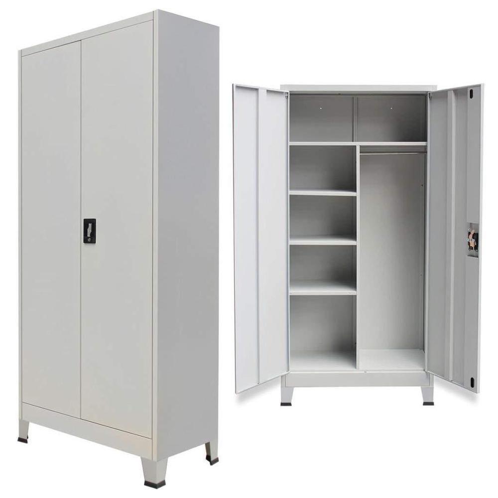 Steel File Storage Filing Locker Cabinet 2 Doors Furniture Grey Bed