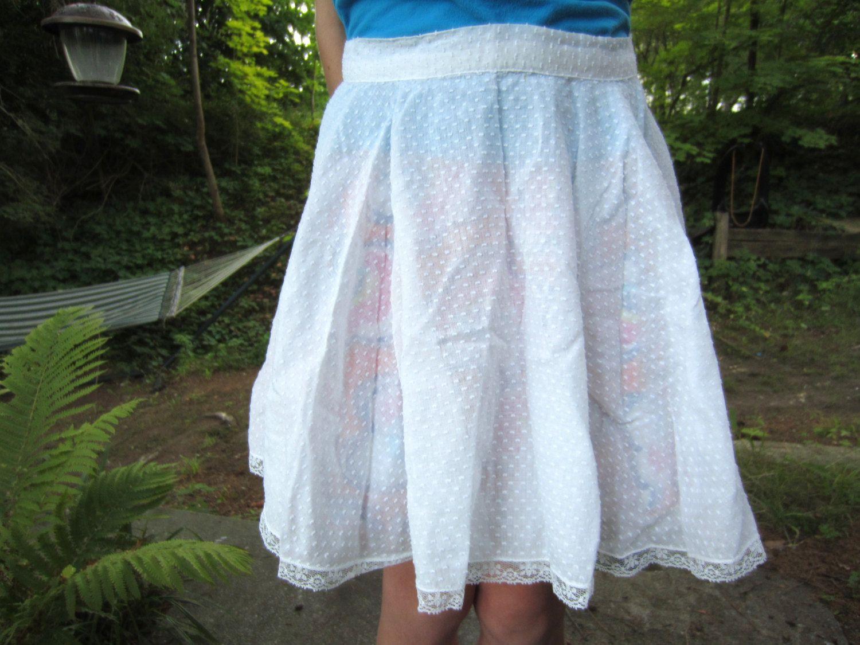 White apron lace trim - Vintage White Swiss Dot Lace Trimmed Apron By Corrnucopia On Etsy