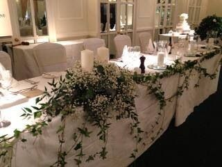 Wedding flower top table decoration with gypsophila and ivy wedding flower top table decoration with gypsophila and ivy junglespirit Image collections