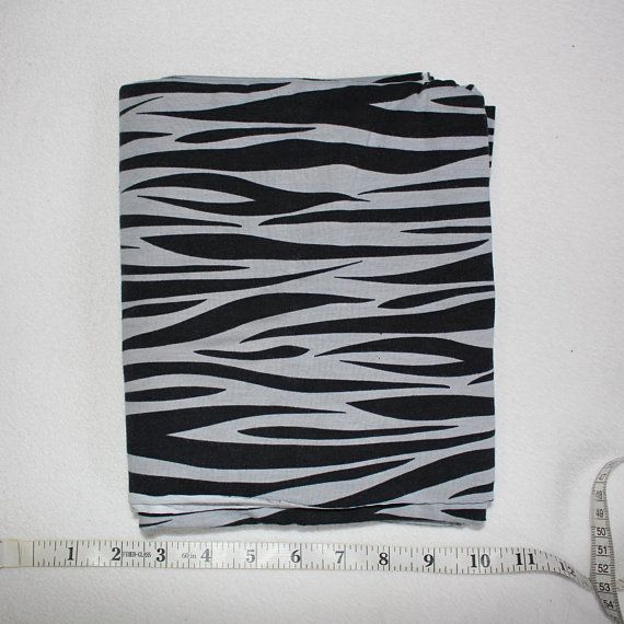 4919ab02d78 Black and Grey Zebra Cotton Lycra Jersey Knit Fabric 1 yard Zebra Print  Stretch Cotton Knit Fabric Black Gray