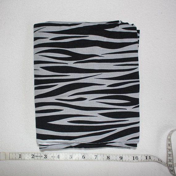 f244d10a32d Black and Grey Zebra Cotton Lycra Jersey Knit Fabric 1 yard Zebra Print  Stretch Cotton Knit Fabric Black Gray