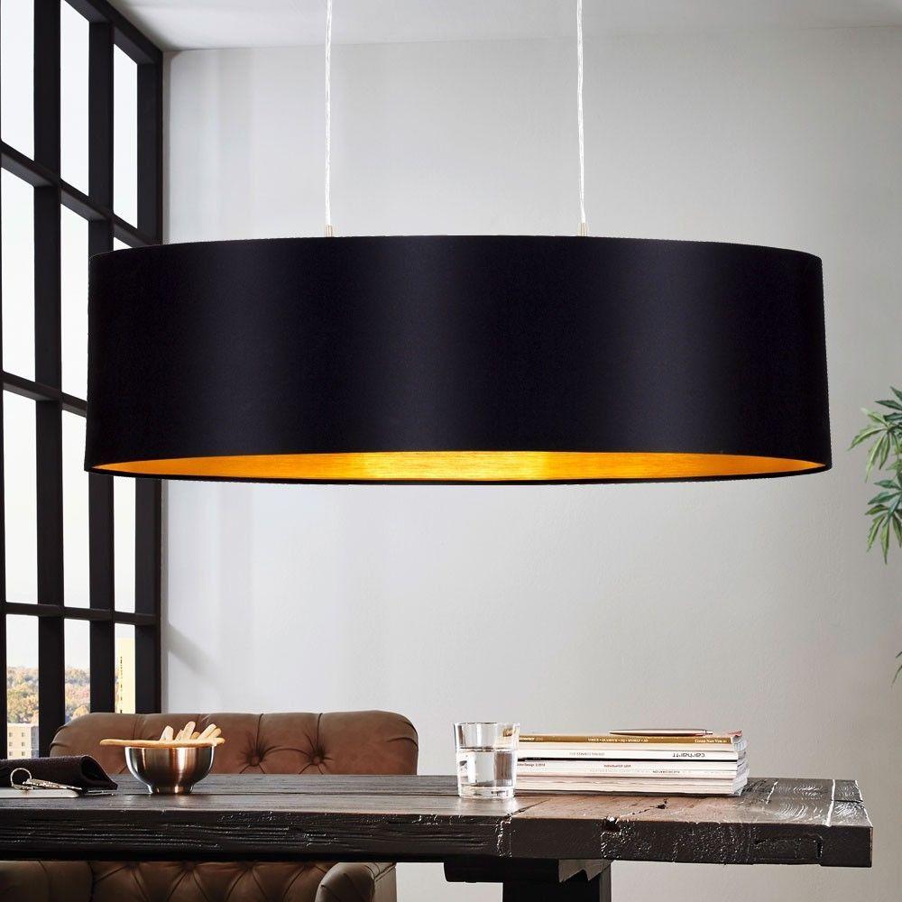 details zu design pendel leuchte textil schwarz gold wohnzimmer h nge lampe e27 beleuchtung. Black Bedroom Furniture Sets. Home Design Ideas