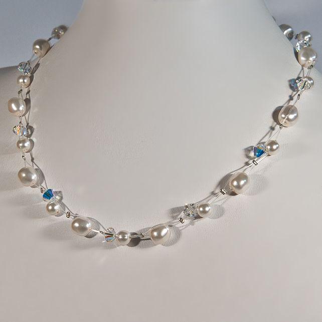 Pearl & Crystal wedding necklace, Swarovski bridal necklace, Illusion necklace £28.00