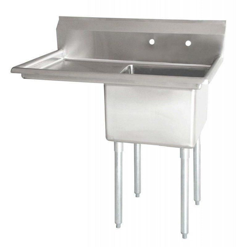 Stainless Steel 1 Compartment Sink 38 1 2 X 24 W Left Drainboard Ns Sink Stainless Steel Faucets Bowl Sink