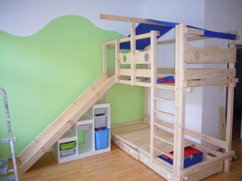 Etagenbett Kinder Spielbett : Spielbett hochbett kinderbett kinder bett jelle mit rutsche