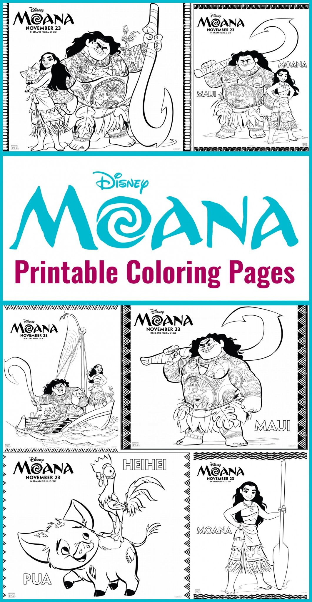 Free Printables - Moana Coloring Pages DIsney | Kid stuff ...