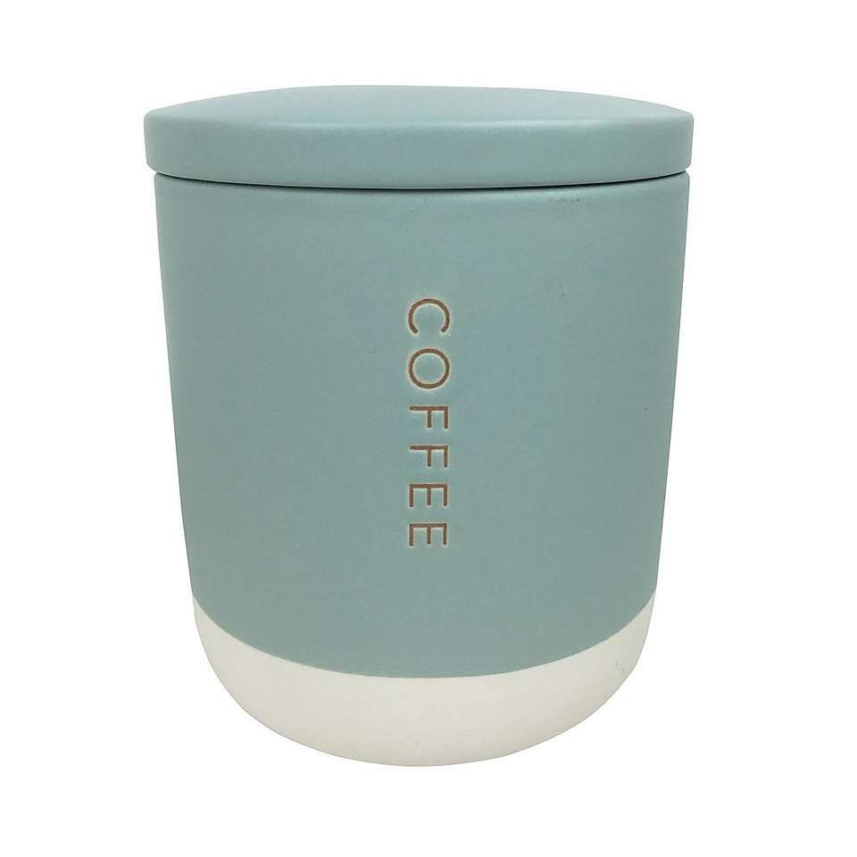 Dunelm Honesty Two Tone Embossed Mint Blue Stoneware Coffee Canister ...