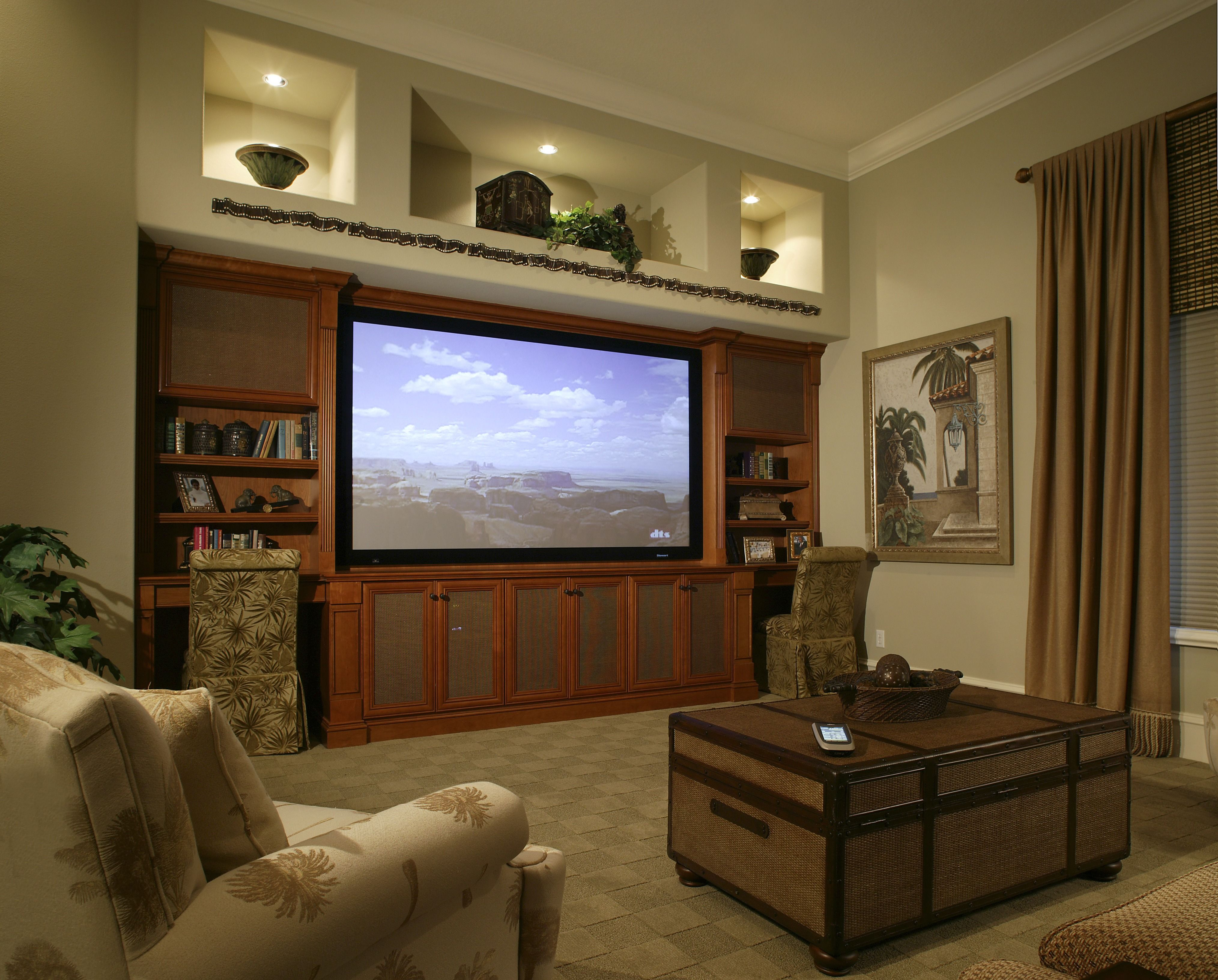 Home Theater Services Costs | Open shelves, Design elements and Desks