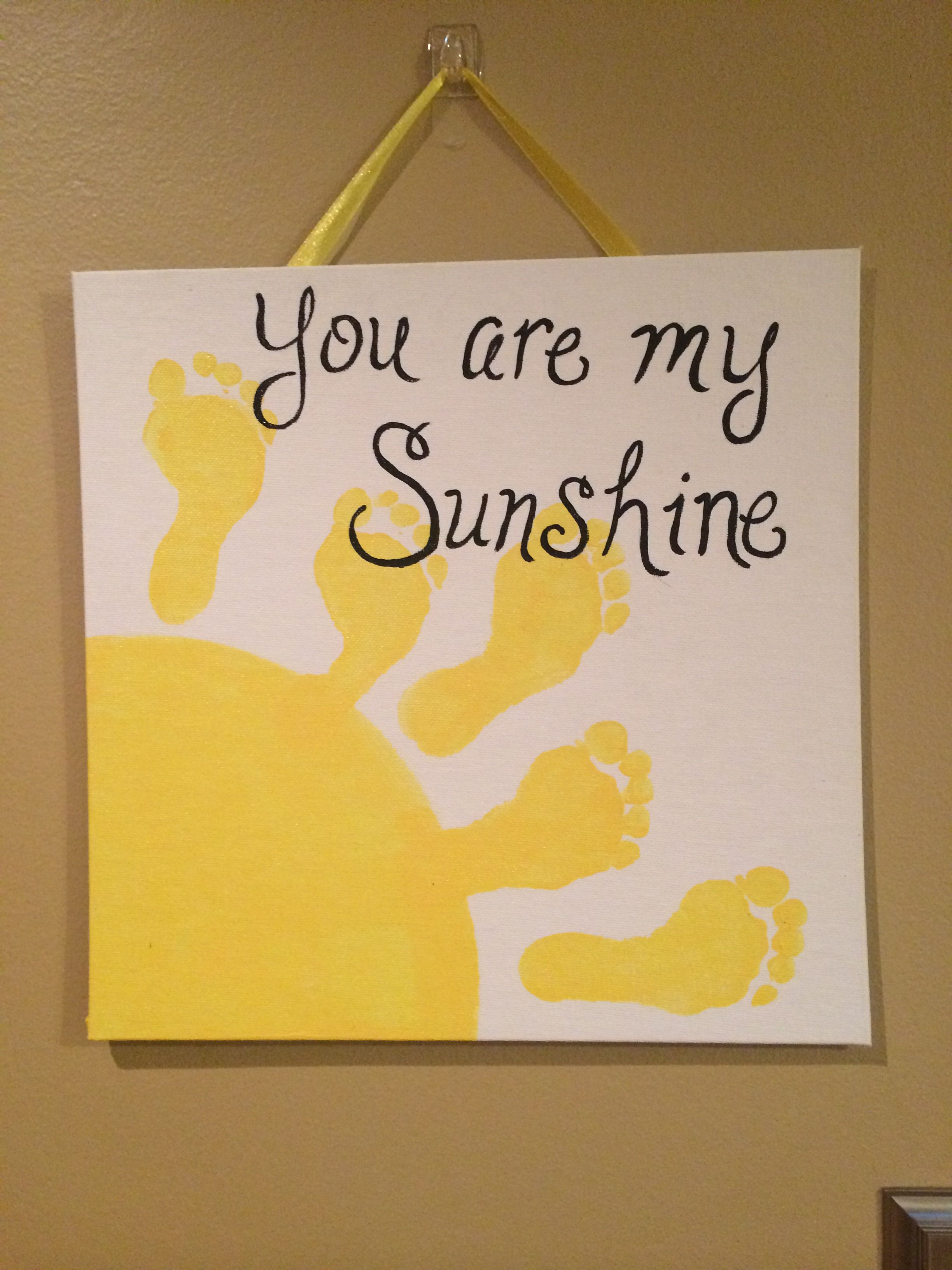 You are my sunshine baby footprint art | Aiden Craft Ideas ...