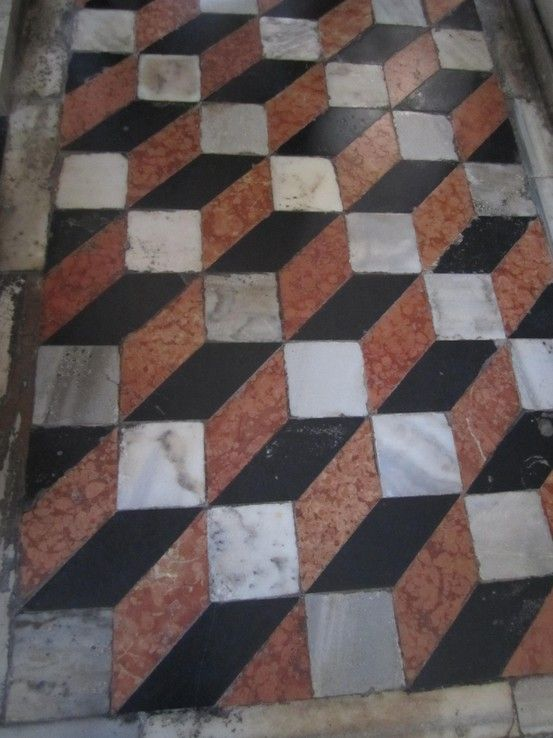 Opus Sectile Polychromic Marble Pavement Geometric Tiled