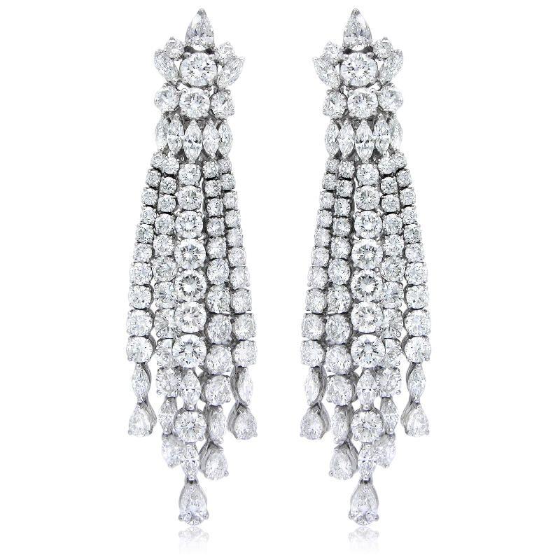 1875ct diamond 18k white gold chandelier earrings aloadofball Images