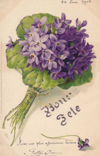 Cpa Fleurs Bouquet De Violettes Fleurs