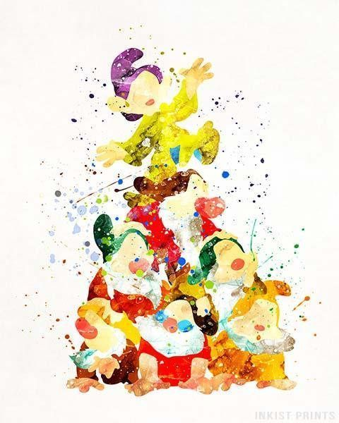 Seven Dwarfs Seven Dwarfs Print Snow White Art Snow White Print