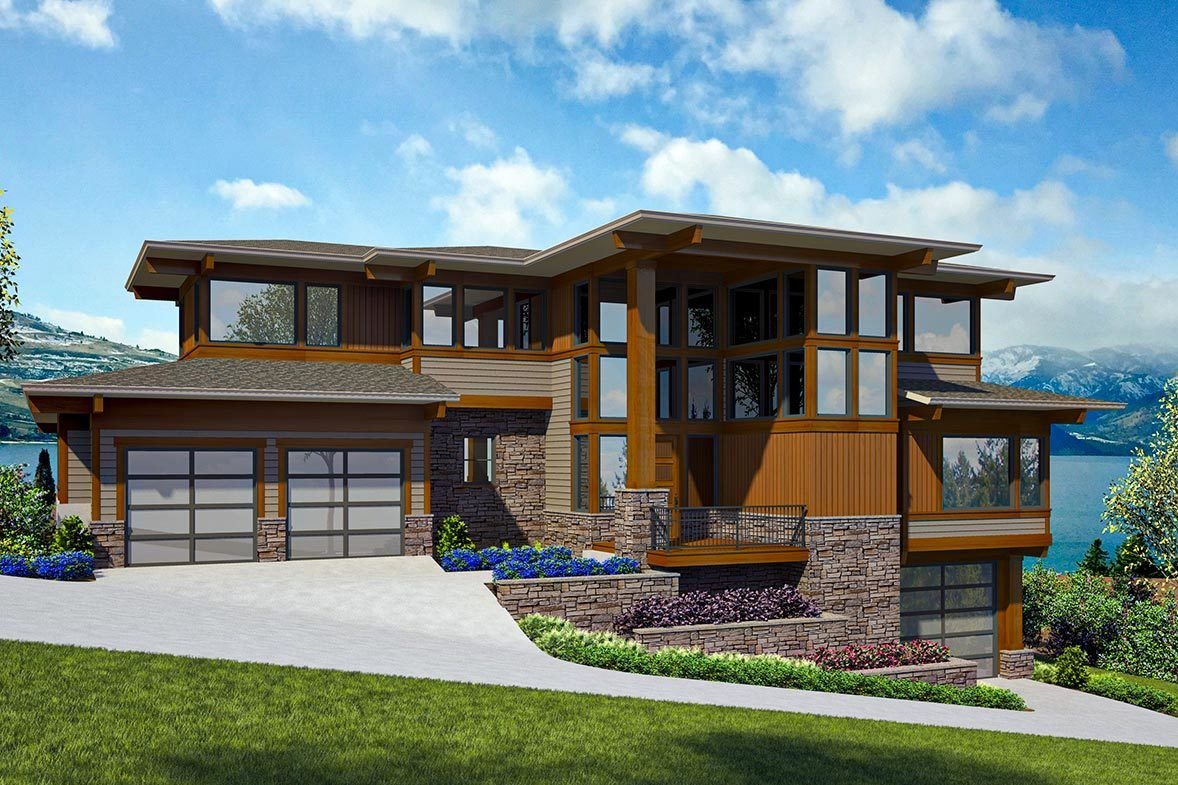 Plan 23812jd Modern Prairie House Plan For A Side Sloping Lot Sloping Lot House Plan Prairie House House Plans