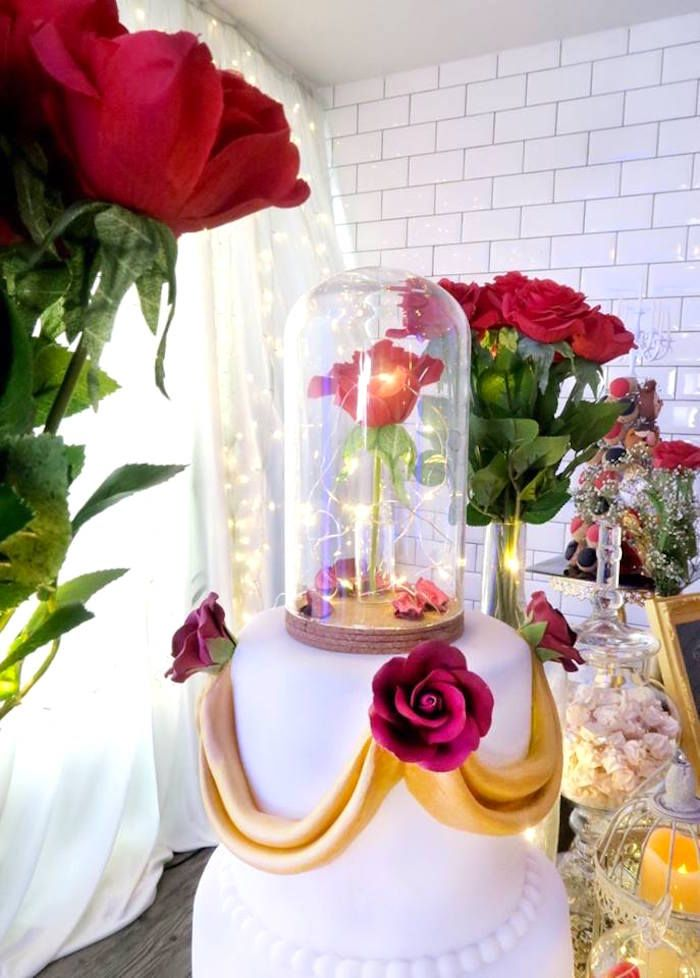 Beauty And The Beast Inspired Wedding Dessert Table Kara S Party Ideas Enchanted Rose Cake