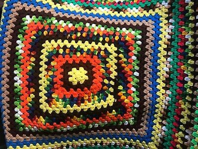 VINTAGE CLASSIC 1970'S HANDMADE CROCHET AFGHAN GRANNY SQUARE MULTICOLORS 36 X 36 #fashion #home #garden #homedcor #afghansthrowblankets (ebay link)