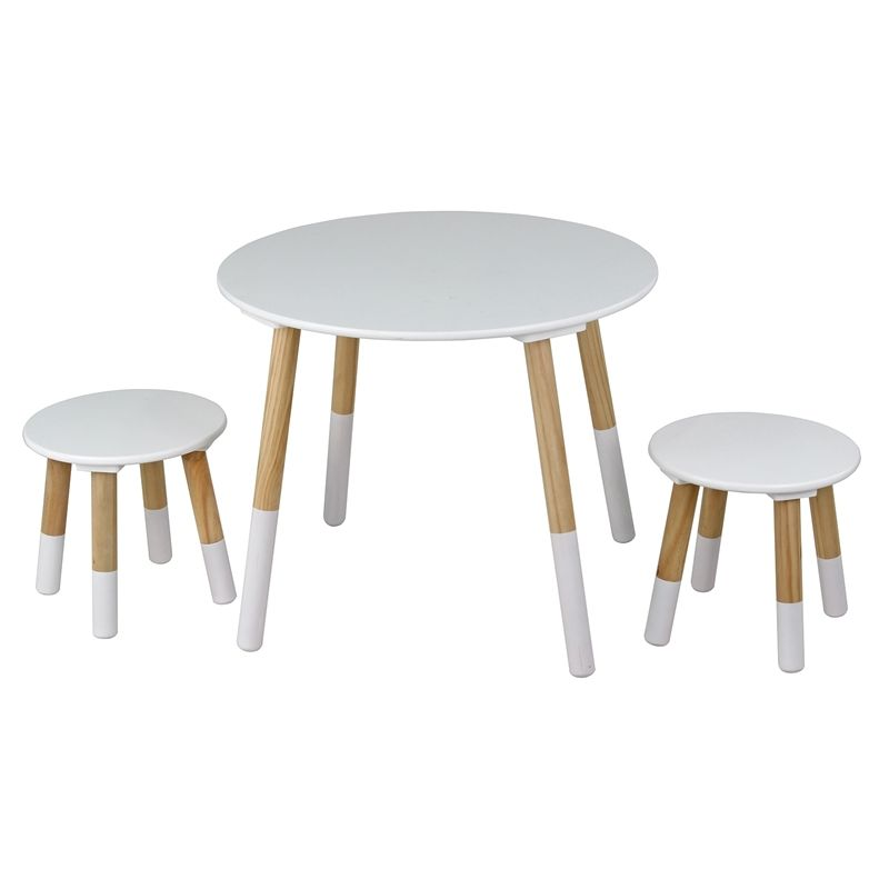 Kids Round Table With 2 Stools White And Oak Table Dining