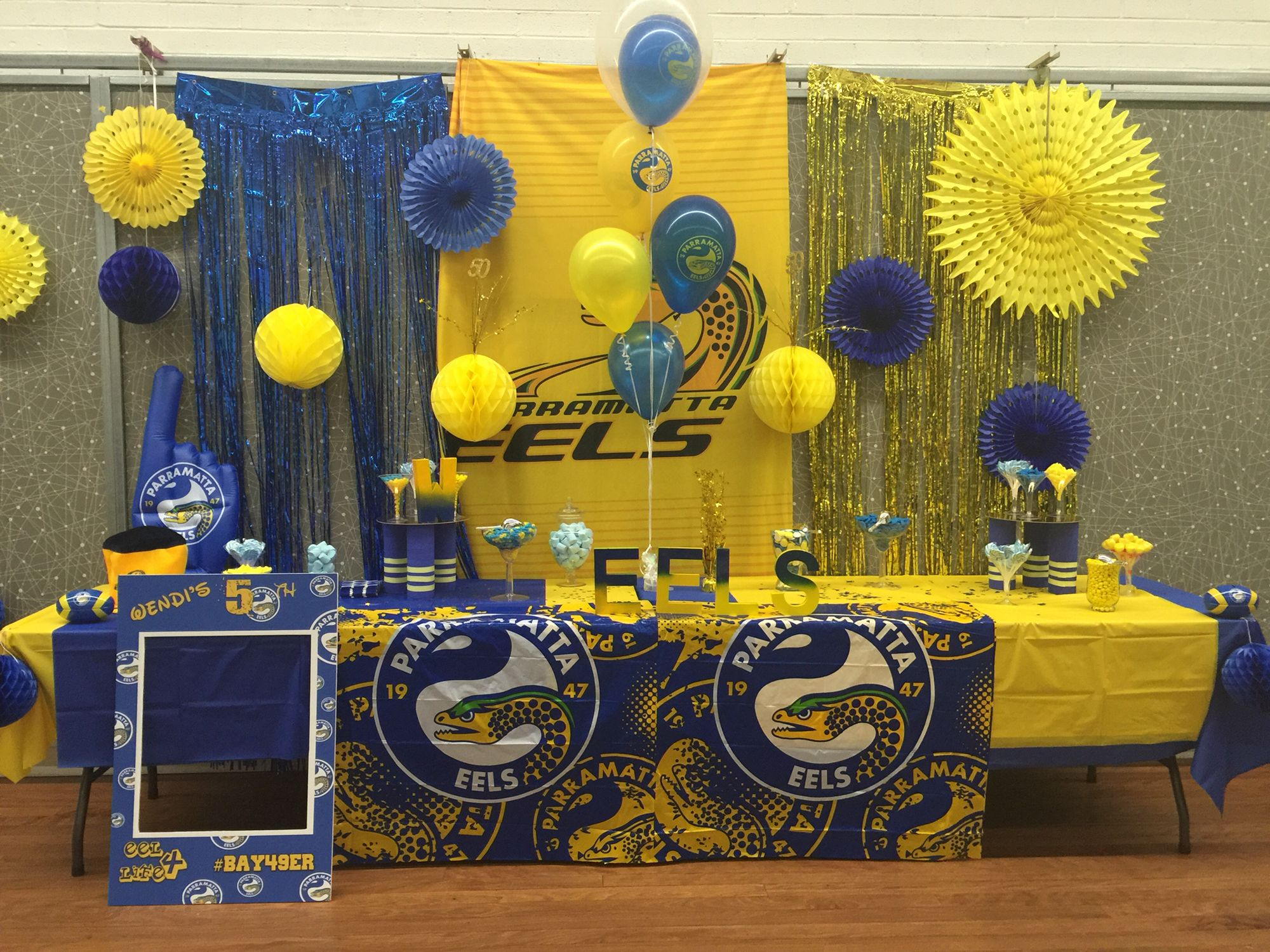 Parramatta Eels Cake Table And Candy Buffet 90th Birthday Parties Birthday Parties Birthday Theme