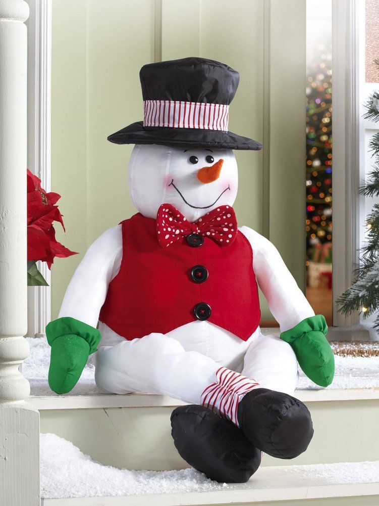 amazoncom stuffable jack frost sitting snowman decor holiday patio greets guest christmas decoration porch greeter decorative hanging ornaments - Amazon Outside Christmas Decorations