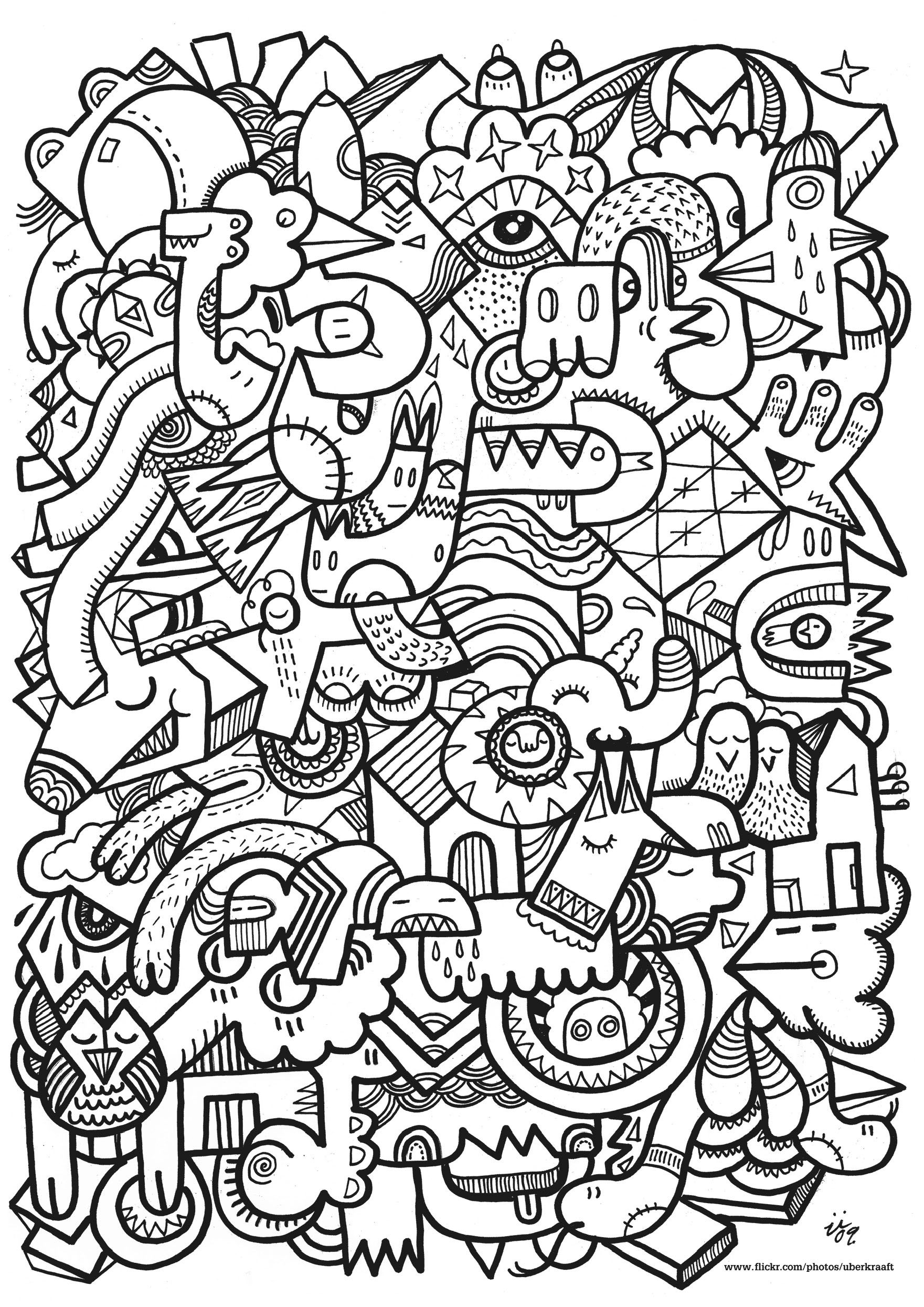 Complex Drawing With Different Doodle Creatures Unclassifiable Coloring Pages For Adults Just Color Avec Images Coloriage Difficile Image Coloriage Coloriage Anti Stress