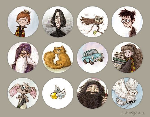 Harry Potter Button Pins Set Of 12 1 1 4 By Mellowattage