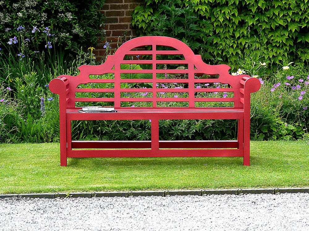 Superb Red Lutyens Bench 150Cm Painted Teak Lutyens Bench Red Ibusinesslaw Wood Chair Design Ideas Ibusinesslaworg