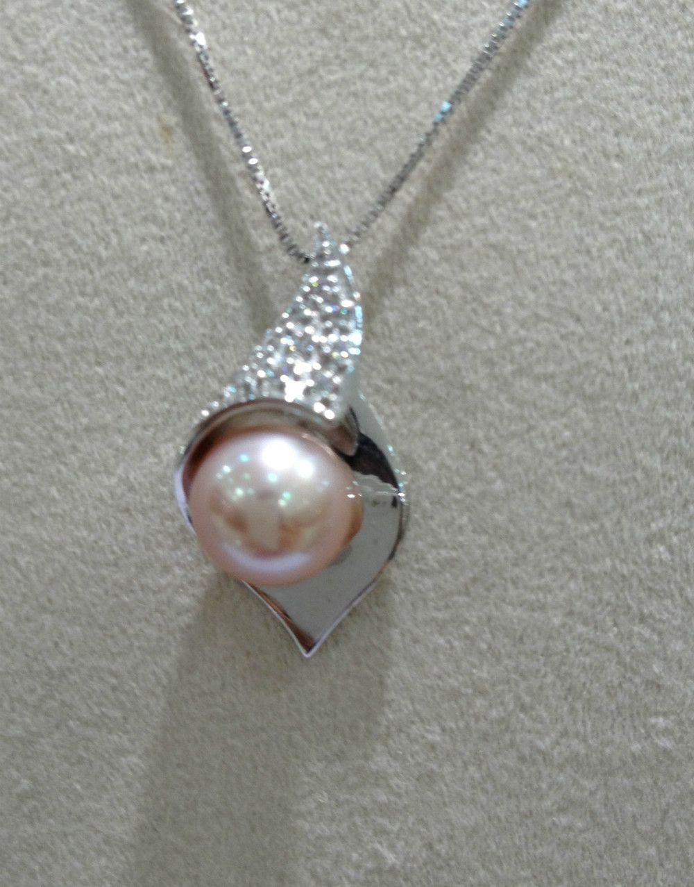 9 10mm Freshwater Pearl Pendant 925 Sterling Silver Perfect Round Nice Pearl Purple Color Rose Clor Freshwater Pearl Pendants Pearl Pendant Pendant Necklace