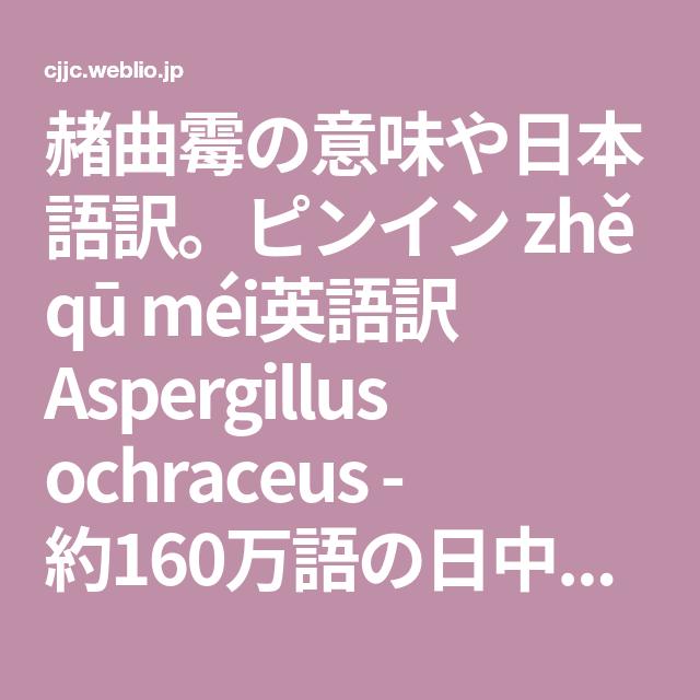 赭曲霉の意味や日本語訳 ピンイン Zhe Qu Mei英語訳 Aspergillus