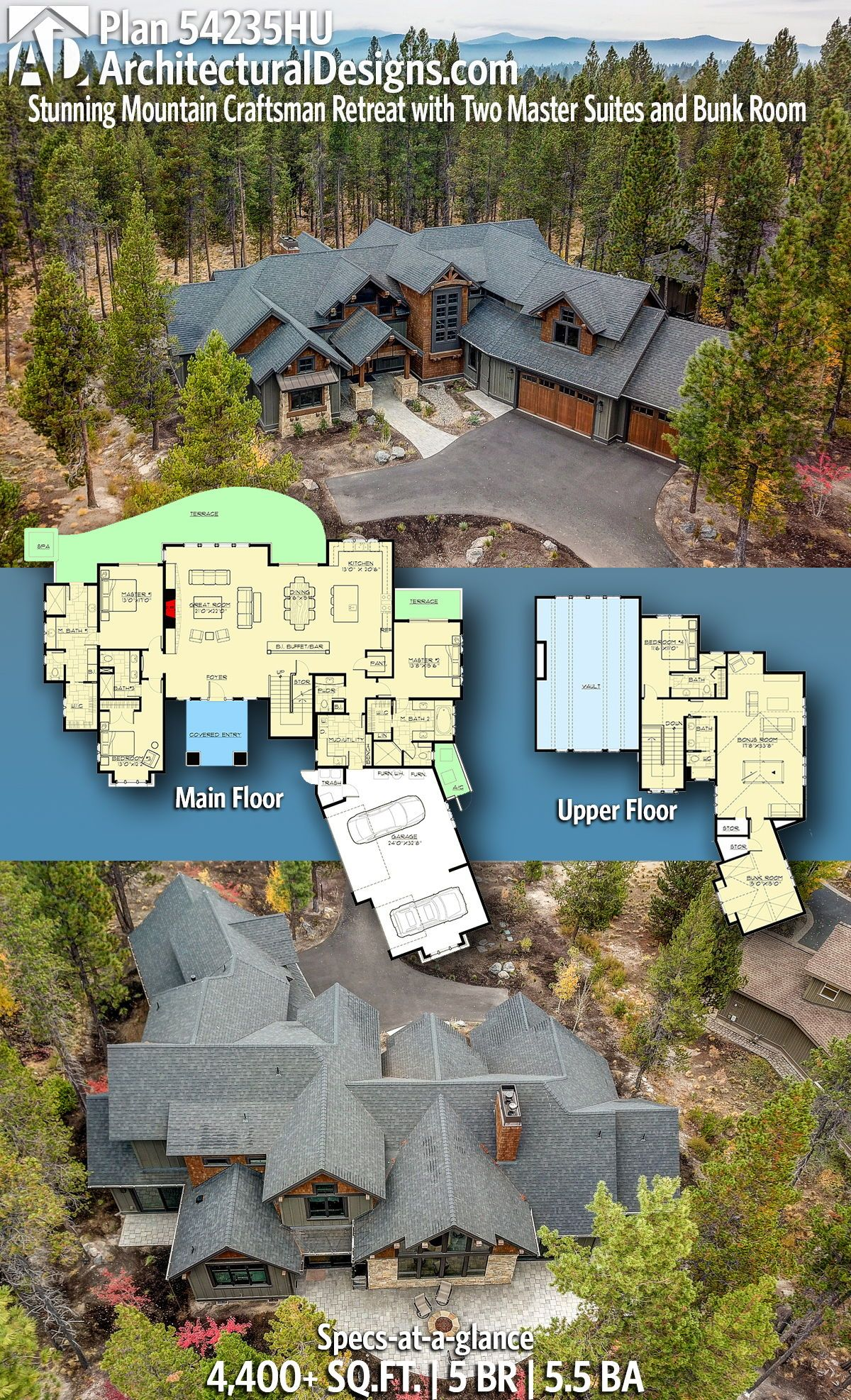 Plan 54235hu Stunning Mountain Craftsman Retreat With Two Master Suites And Bunk Room Rustic House Plans Dream House Plans Architectural Design House Plans