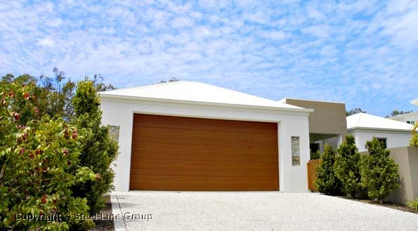 Steel Line S Slimline Decowood Sectional Garage Door Facade