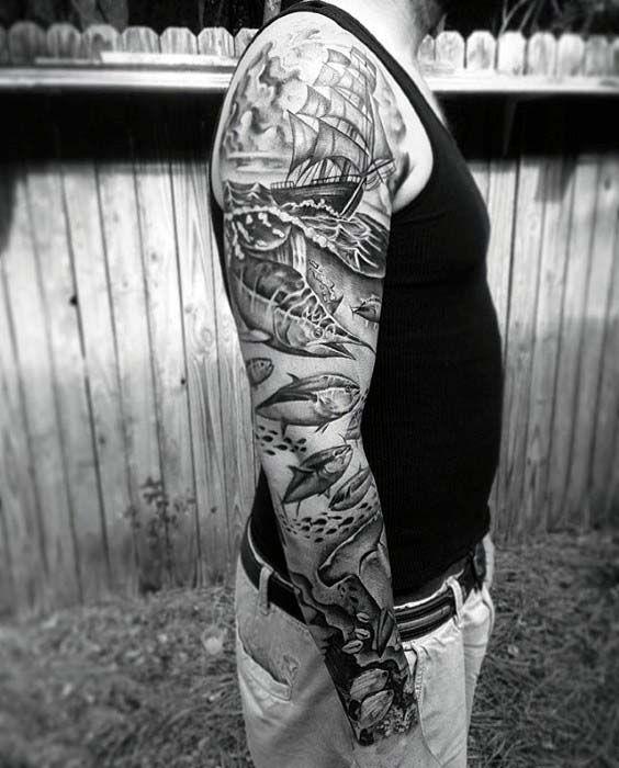 Top 37 Sailor Sleeve Tattoo Ideas 2020 Inspiration Guide Sleeve Tattoos Nautical Sleeve Ocean Sleeve Tattoos