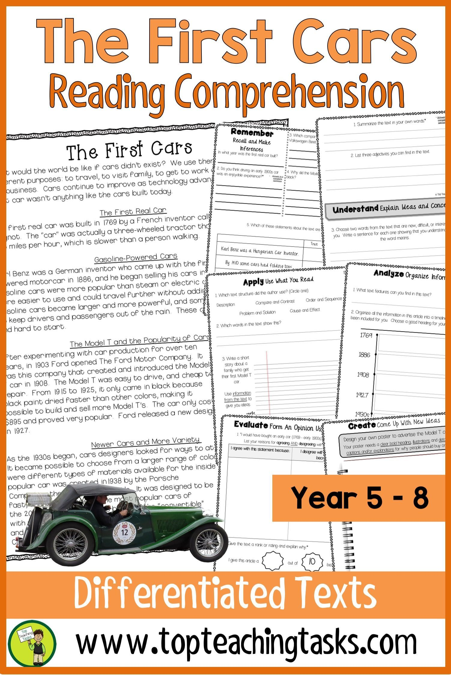 The First Cars Reading Comprehension Passages And