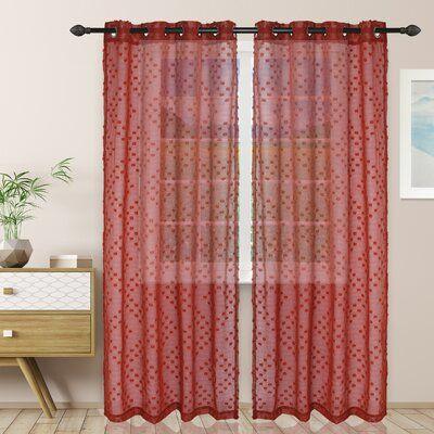 Ivy Bronx Junious Floral Sheer Grommet Curtain Panel Grommet