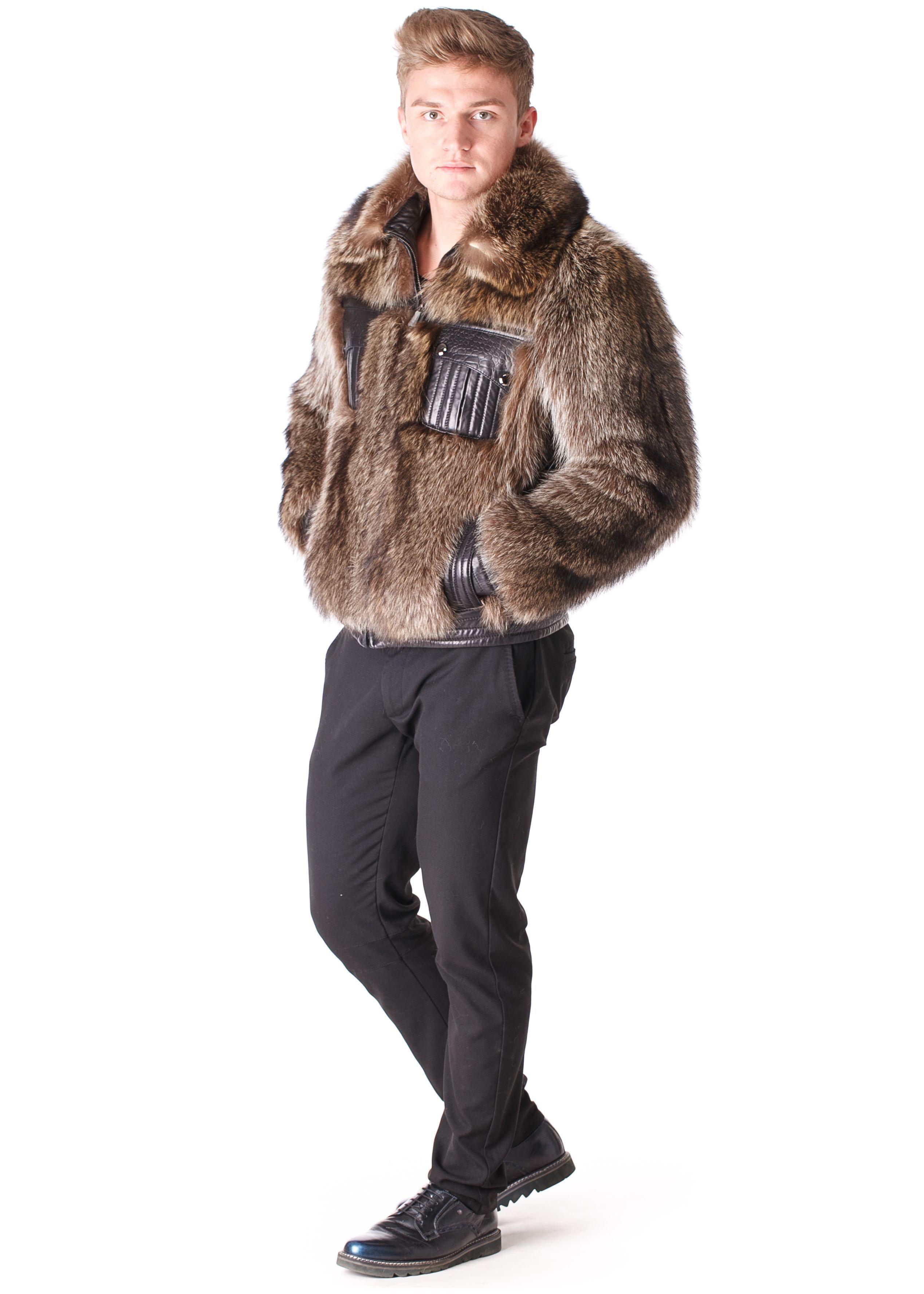 Man in Leather Fur Jacket Fur leather jacket, Fur hood