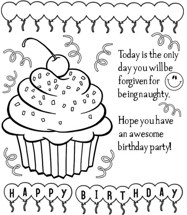 Birthday Cards Coloring Page Art For My Walls Birthday Party