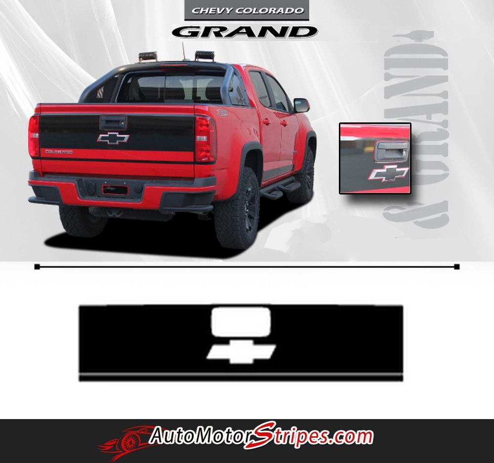2015 2020 Chevy Colorado Grand Rear Tailgate Blackout Accent Vinyl Graphics 3m Stripes Kit Chevy Colorado Chevy 2017 Chevy Colorado