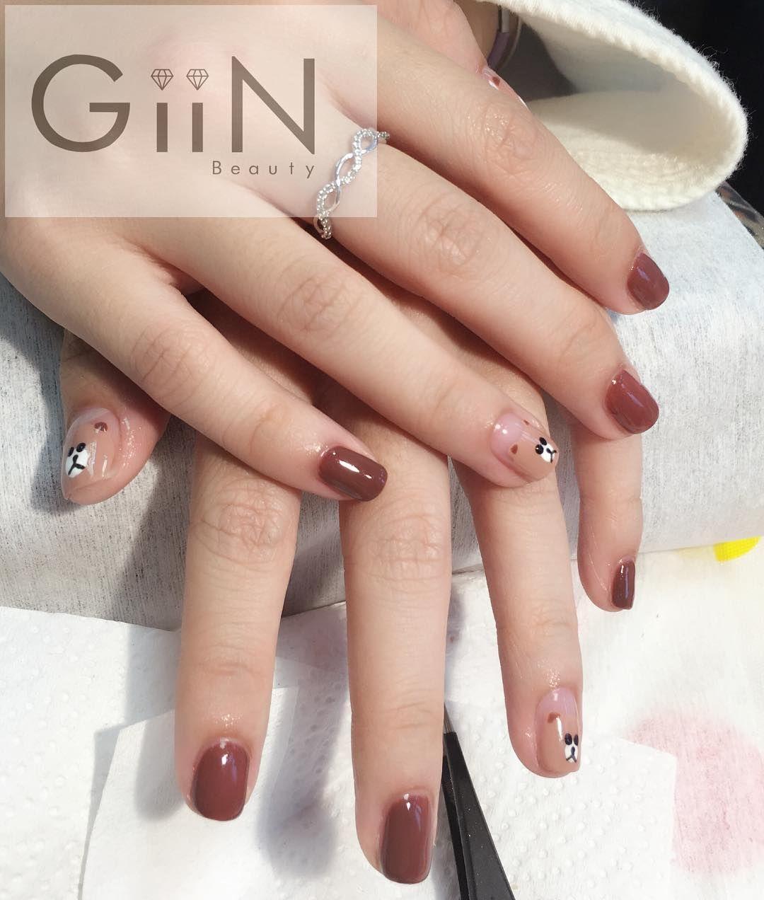 #nailart #nails #art #chocolate #linecafe #line #bear #linebear #asian #natural #shellac #gelnails #gelish #polish #nailpolish