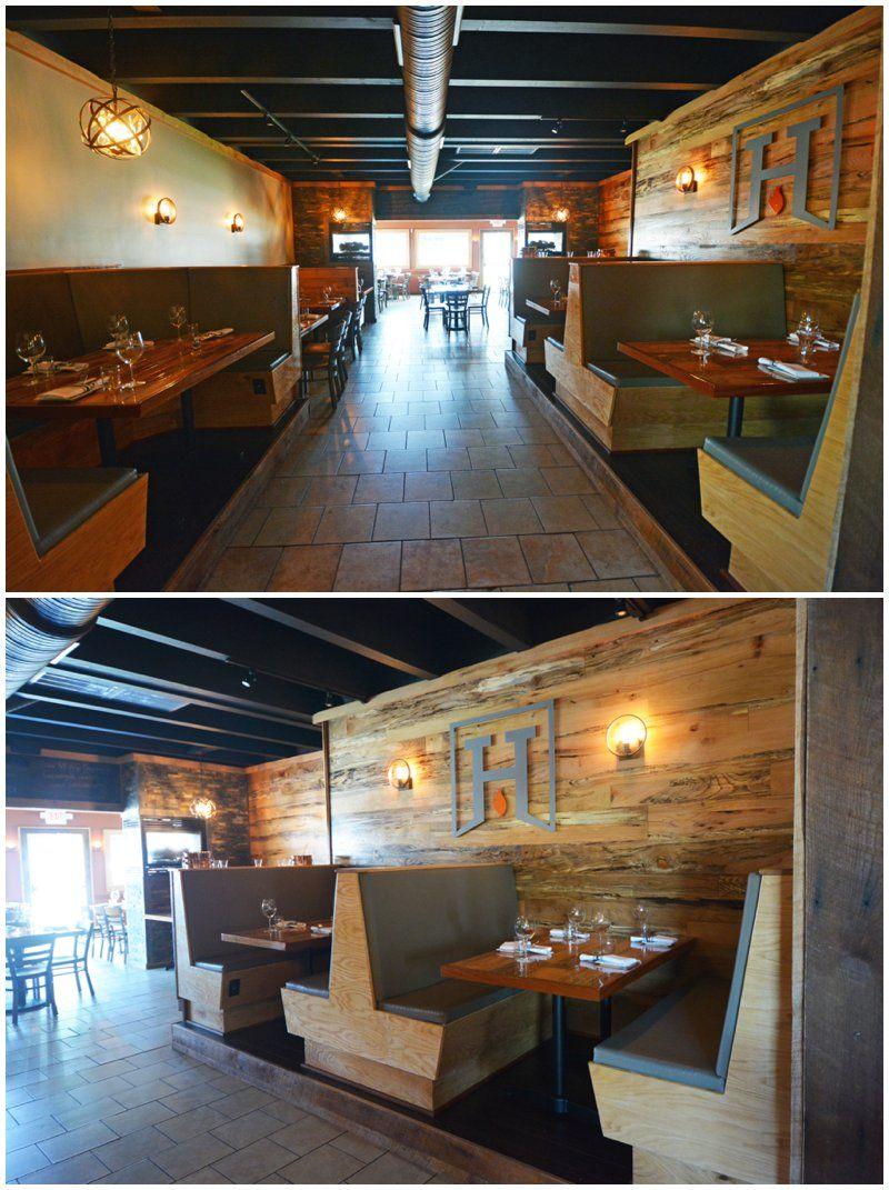 VIRGINIA BEACH RESTAURANT DESIGN | Hearth Rustic Interior, Wood Wall,  Commercial Interior Design,