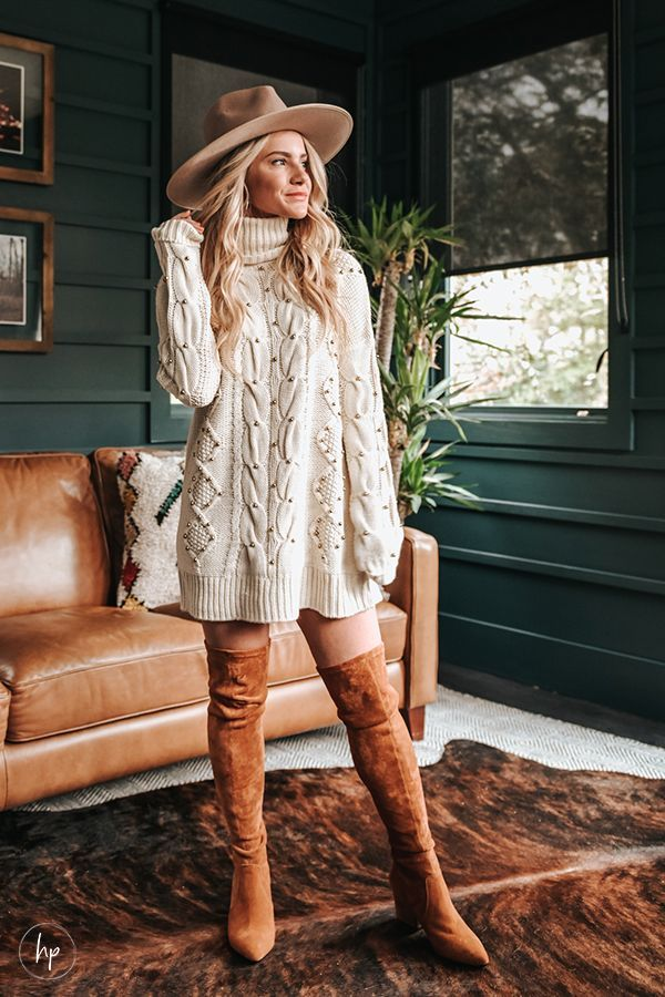 THANKSGIVING OUTFIT INSPO | IVORY TURTLENECK SWEATER DRESS – Hunter Premo