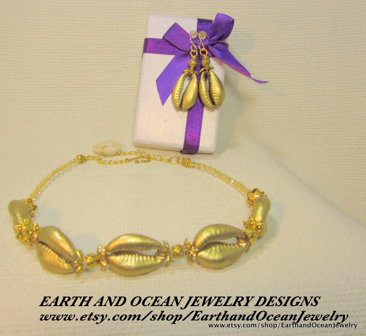 The Golden Goddess Necklace Set available at Earth and Ocean Jewelry