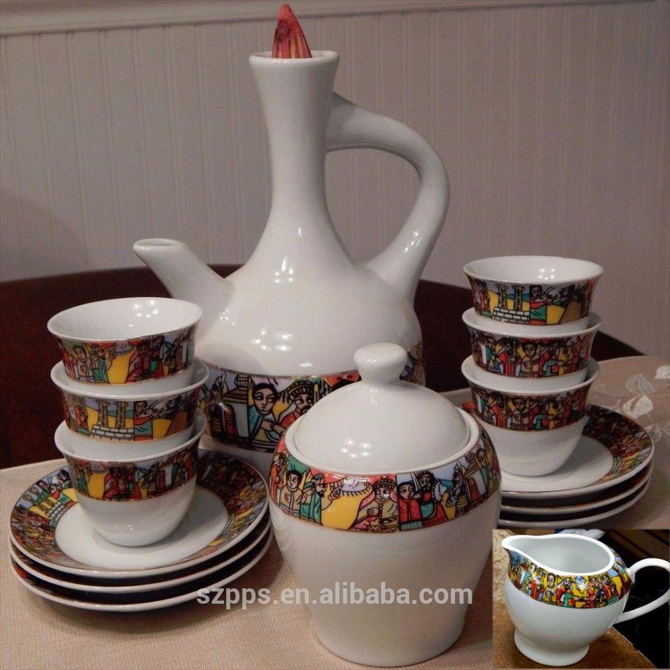 Fine Porcelain Ethiopian Art Traditional Coffee Set Sheba Cups 16