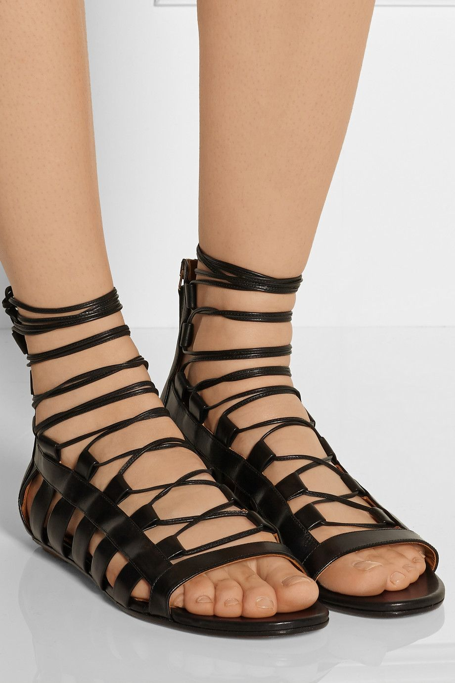 Aquazzura Amazon Leather Sandals Net A Porter Com Leather Sandals Sandals Womens Sandals Flat [ 1380 x 920 Pixel ]
