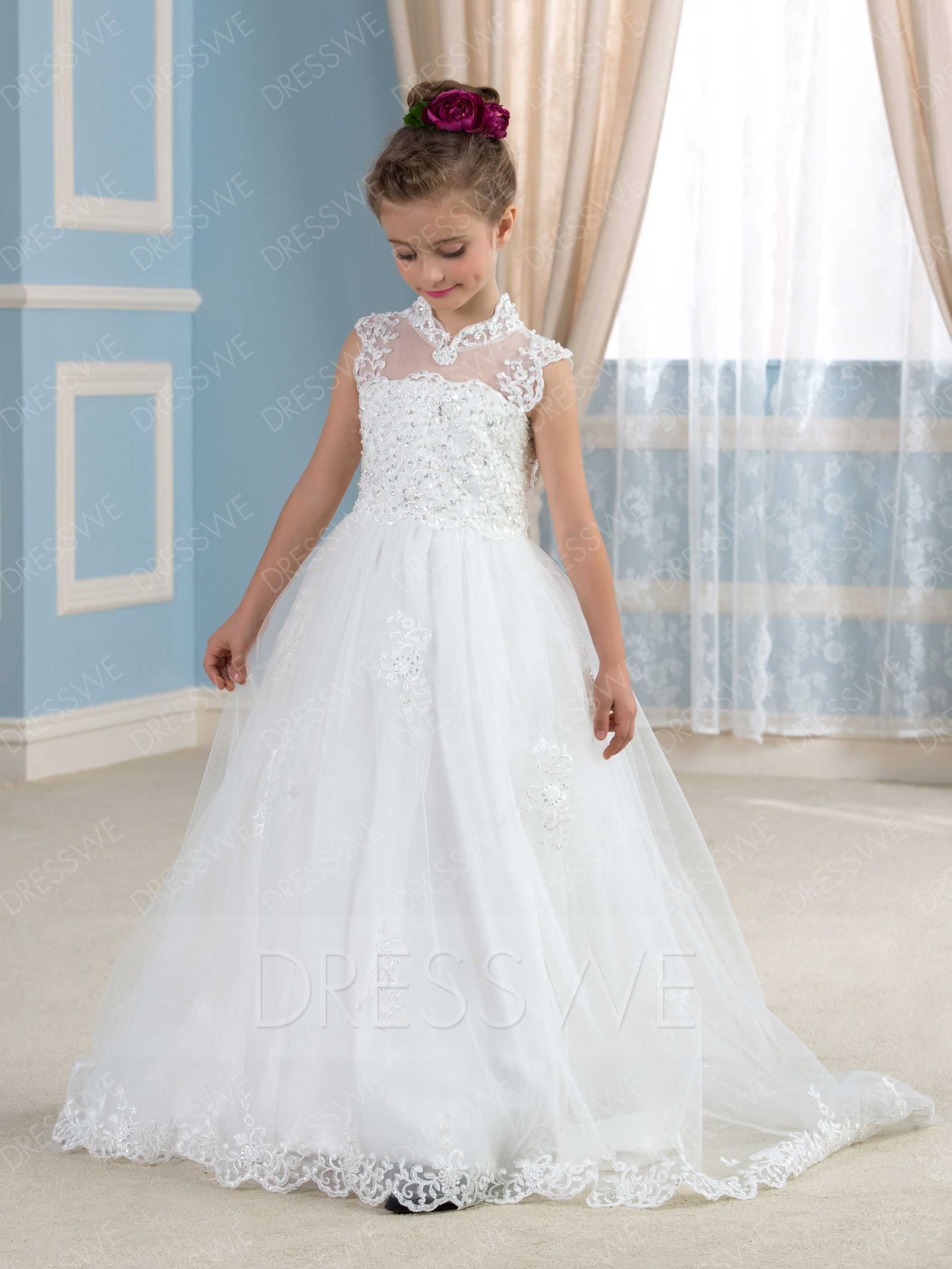 5803b6a8184 Buy Vintage Jewel Neck Appliques Beading Floor-Length Flower Girl Dress  Online