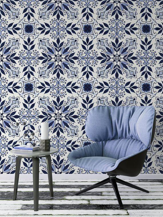 Wallpaper Indigo Mosaic Bohemian Removable Mural Self Adhesive L And Stick Roll Sheets A016