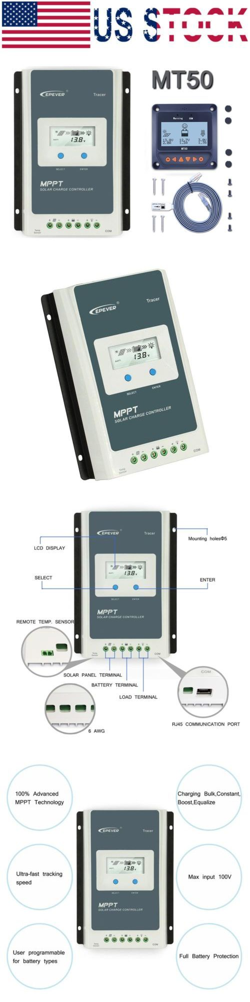 Chargers and Inverters 41980: Epever Mppt 20A 30A 40A Solar