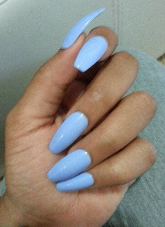 Matte Light Blue Coffin Nails, Pastel Blue Press/Glue on ...