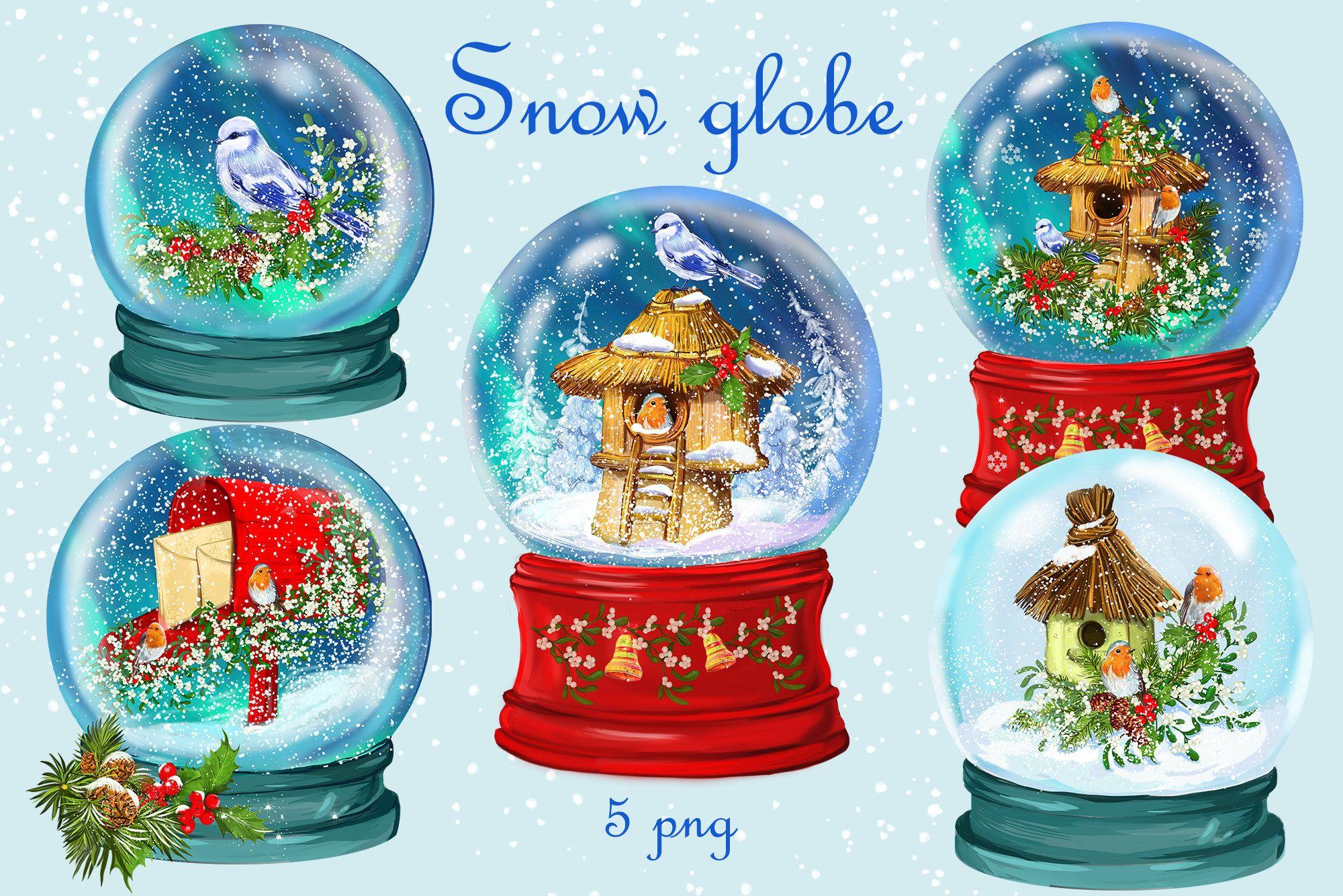 Christmas Globes Snow Globe Clipartbirdsbirdhouses Winter Etsy In 2021 Christmas Snow Globes Christmas Globes Globe Clipart