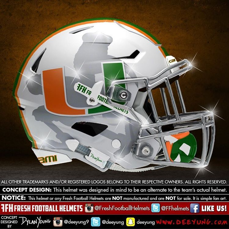 "Fresh Football Helmets on Instagram  ""Miami Hurricanes fef61e45a"