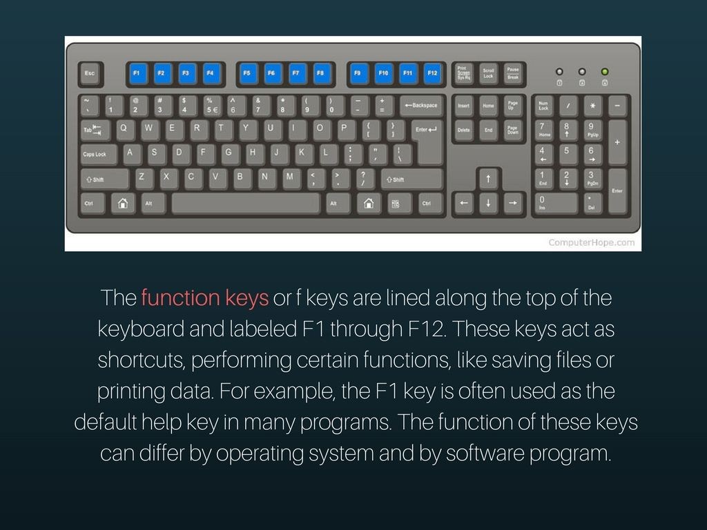 The function keys or f keys are lined along the top of the