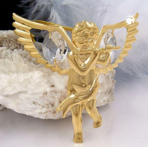Engel mit Kristall-Glas, gold-plattiert